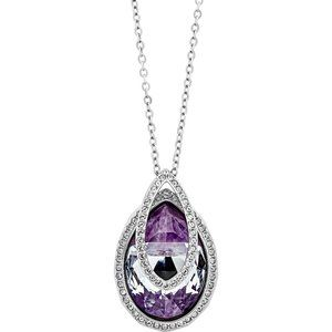 SWAROVSKI - Rhodium-Plated Purple Crystal Necklace